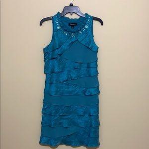 S.L. Fashions Teal Chiffon Tiered Dress